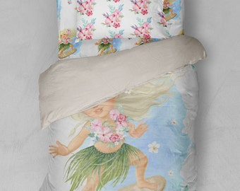 Surfer Girl Twin Bedding Duvet Cover Sheets Sham Moana Hawaiian Surfing Flowers Beach