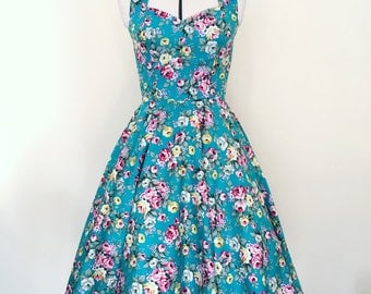 Turquoise Rockabilly dress- Pin up, floral 50's style, vintage, retro