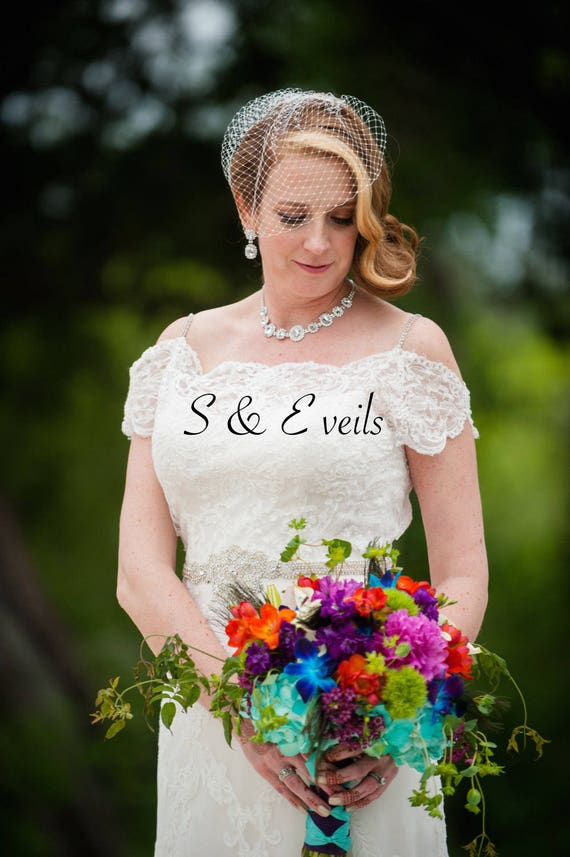 RUSSIAN NET BIRDCAGE with Swarovski crystals   bridal veil, accessories, short veil, embellishments, designer veil, white, ivory colors