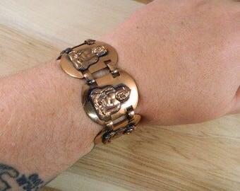 Vintage Copper Buddha Bracelet / Large Link Solid Copper Cuff / Buddhist Religious Copper Link Bracelet