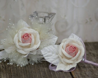Shabby Chic Pink Boutonniere or corsage Rustic Ivory Rose Bridal