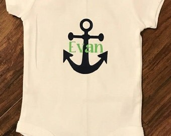 Personalized Anchor Onsie Bodysuit with Name