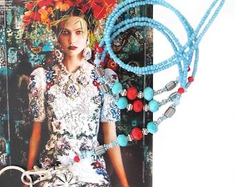 Lanyard, Turquoise silver and red, Cheap Shipping, Beaded lanyard, ID holder, badge holder, key chain, fashion lanyard, Handmade, Boho