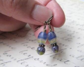 Gypsy Jewelry Earrings Boho Earrings Bohemian Earrings Blue and Gold Earrings Hippie Earrings Miss Fisher Earrings Tiny Blue Earrings- India