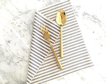 Cloth Napkins - Small Blue French Ticking Stripe Napkins - Set of 4 - Dinner Napkins - Wedding Napkins