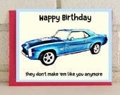 Birthday Classic Car Greeting Card Celebration Blue Vintage