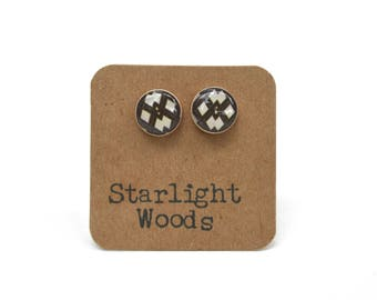 Geometric stud earrings brown stud earrings summer outdoors wood brown studs brown earrings wood earrings starlight woods
