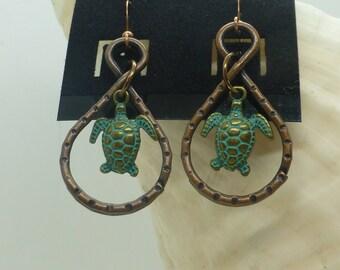 Copper Sea Turtle Earrings