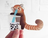 Red Panda With a Boba Sticker