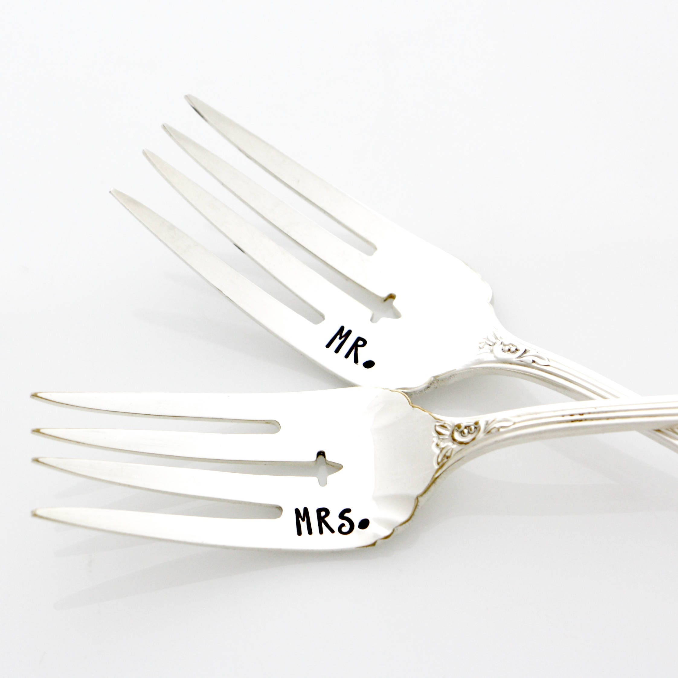 Hand st&ed mr and mrs wedding forks for table setting. Unique wedding keepsake. READY  sc 1 st  shopping for Latest Fashion Womens Mens and Kids Athletic Apparel ... & Hand stamped mr and mrs wedding forks for table setting. Unique ...