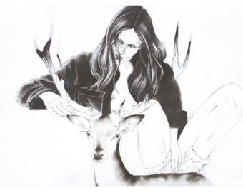 Woman and Deer Familiar Fine Art Print