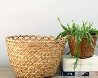 Vintage Woven Basket Planter Open Weave Bamboo Indoor Planter Jungalow Boho Coastal Decor