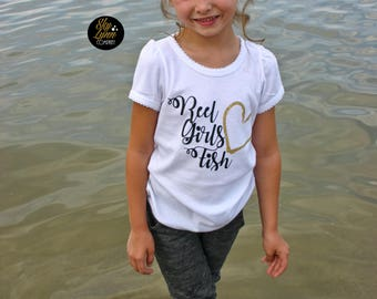 Reel Girls Fish Fitted Shirt or Bodysuit Fun Printed Tee