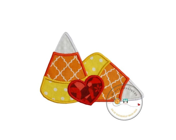 Candy corn with red heart machine embroidered fabric iron on no sew patch, ready to ship holiday applique