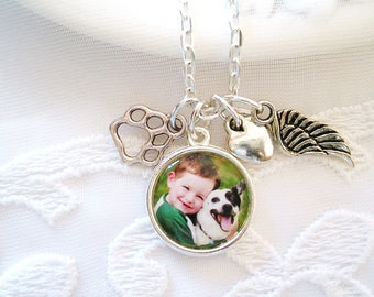Pet Memory Photo Charm Necklace 1 or Two Sided Charm Dog or Cat Name Charm Mom Gift Pet Loss Sympathy Gift Pet Memory Picture Charm Necklace