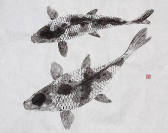KOI Fish Couple (Nishikigoi) - Brocaded Carp - Original Gyotaku - traditional Japanese fish art
