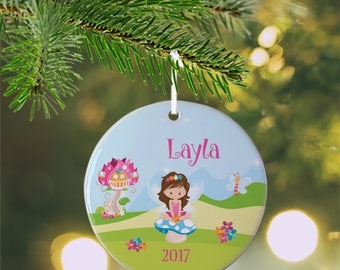 Personalized Kids Ornament - Fairy Girl Flower House Blue Sky Green Grass , Children Christmas Ceramic Circle Heart Snowflake Star