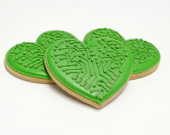 Decorated Cookies - Circuit Hearts - 1 DOZEN