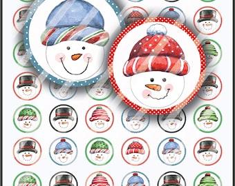 Printable Christmas Snowman Favor tags/Printable Envelope Seals/Instant Download/Christmas Bottlecap Images/Snowman/collage sheet/snowman