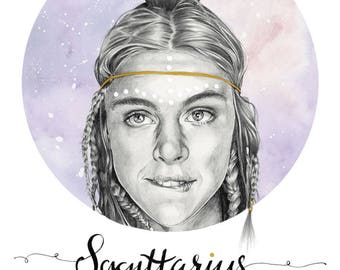 Sagittarius original watercolour and graphite illustration