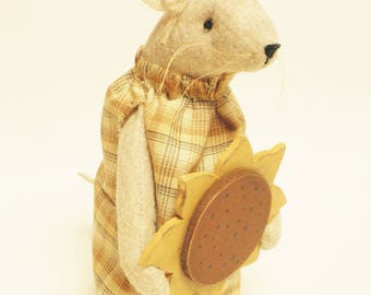 Primitive Sunflower Mouse - Made To Order, Mouse with Sunflower, Primitive Fall Decor