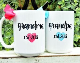 New GRANDMA or GRANDPA Mugs, Established year and heart, Cute Pregnancy Announcement