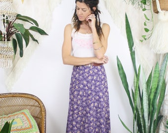 70s Cotton Maxi Skirt, European vintage purple floral Boho skirt, Large 4141