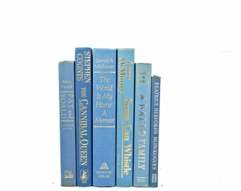 Sky Blue Decorative Books, Old Book Set, Wedding Centerpiece, blue violet Book Decor, Instant Library, Book COllection, Book shelf decor