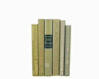 MOss Green BOoks, Decorative Books, Antique Book Set, Book Stack, BOok COllection, VIntage Book Decor, Instant Library, Bookshelf Decor