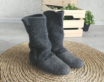Womens slipper boots in dark gray - maternity sleepware - natural wool womens house shoes