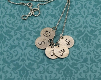 Sterling Silver, Mother's Necklace; Personalized,Script Initial Pendants,1 to 5 Initials on a 16 to 24-Inch Bead Chain, Mother's Gift, Gift
