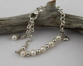 Cultured, Freshwater Pearl and Sterling Silver Rolo Chain Bracelet with Puffy Heart Charm; Dainty, Elegant Bracelet, Wedding Party Bracelet