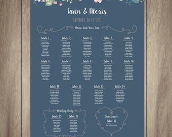 Wedding Seating Chart 24x36in {Navy & Roses}
