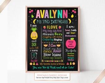 Two-tti Frutti Birthday Chalkboard Sign, Twotti Frutti Birthday, Milestone Sign, Printable Stats Sign, Tutti Fruitti Party Decor, Printable