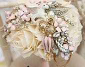 Fairytale unicorn Whimsical alternative Ornate handle brides brooch bouquet Vintage retro rhinestone floral flower wedding posy bouquet