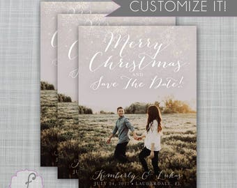 Christmas Save the Date, Christmas Card and Save the Date, Holiday Save the Date, Snowflake photo card, picture christmas card, merry
