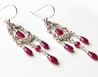 Ruby Chandelier Earrings, Sterling Silver Wire Wrap earrings, pinkish-red gemstone, fancy statement, boho style, July birthstone, gift, 4456