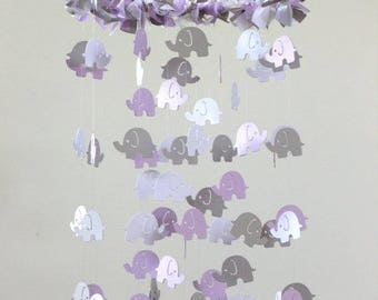 Elephant Nursery Mobile- Lavender Gray White Elephant Mobile, Baby Shower Gift, Photographer Prop