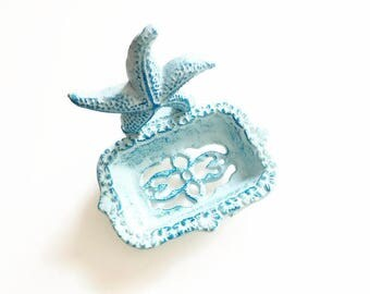 Starfish Soap Dish. Beach Bathroom Decor. Cast Iron Soap Dish. Business Card Holder. Ocean Soap Dish. Pool House Decor. Desk Accessories.