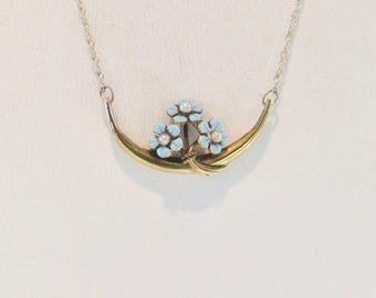 Yellow Gold Blue Enamel Flower Necklace, Up-Cycled Pin Converted to Bar Necklace, Blue Enamel Flowers, Enamel Necklace, Bar Necklace