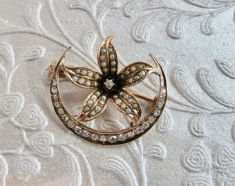 Antique Crescent and Star Pin, Antique Pin, Diamond and Pearl Pin, Sunburst Pin, Crescent Pin, Victorian Crescent Pin, Diamond Crescent Pin