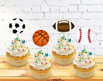 All Star Sports Cupcake Toppers - Sports Party - Birthday Party - Sports Party Decor - Boys Birthday Party - Football - Baseball - Soccer