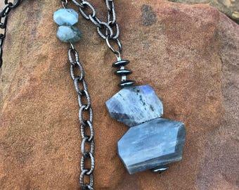 Labradorite and Gun Metal Necklace - Long Necklace - Gemstone  - Boho