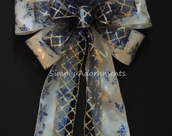 White Navy Blue Snowflakes Winter Wedding Pew Bow Winter Holidays Tree Topper Blue Bow Blue Snowflakes Bow Hanukkah Holiday Blue Door Bow