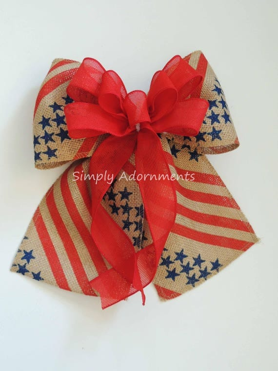 Stars and Stripes Burlap Bow July 4th Burlap Wreath Bow 4th of July Door Bow Americana Bow Burlap Patriotic Bow Burlap Door Hanger Decor Bow