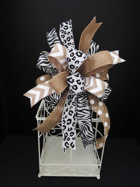 Safari Birthday Party decor Animal Print baby shower Decor Leopard Zebra Print Wreath Bow Safary Wedding Chair Bow Animal Print party Decor