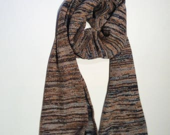 Multicoloured Mens Winter Scarf . Black wool knit winter scarf.Luxury Knitted Stripped Scarf. Gift for Husband  Dad Brother.