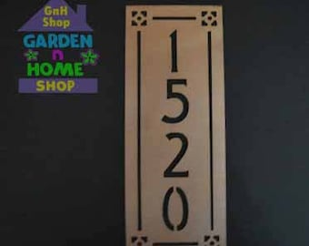 Arts and Crafts Metal Address Sign 4 Number Vertical / Mission Style House Numbers/ Custom / House Numbers