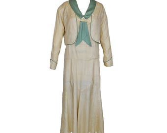 Vintage 20s Silk Dress and Jacket // Ivory Celadon // Summer // Deco // M/L