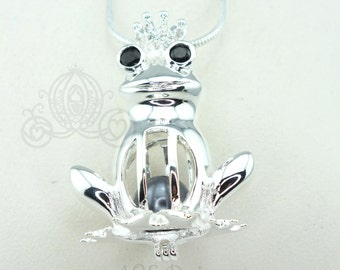 Frog Prince Pearl Cage Necklace Princess Silver Plated Locket Charm Crystals Accents Tiana